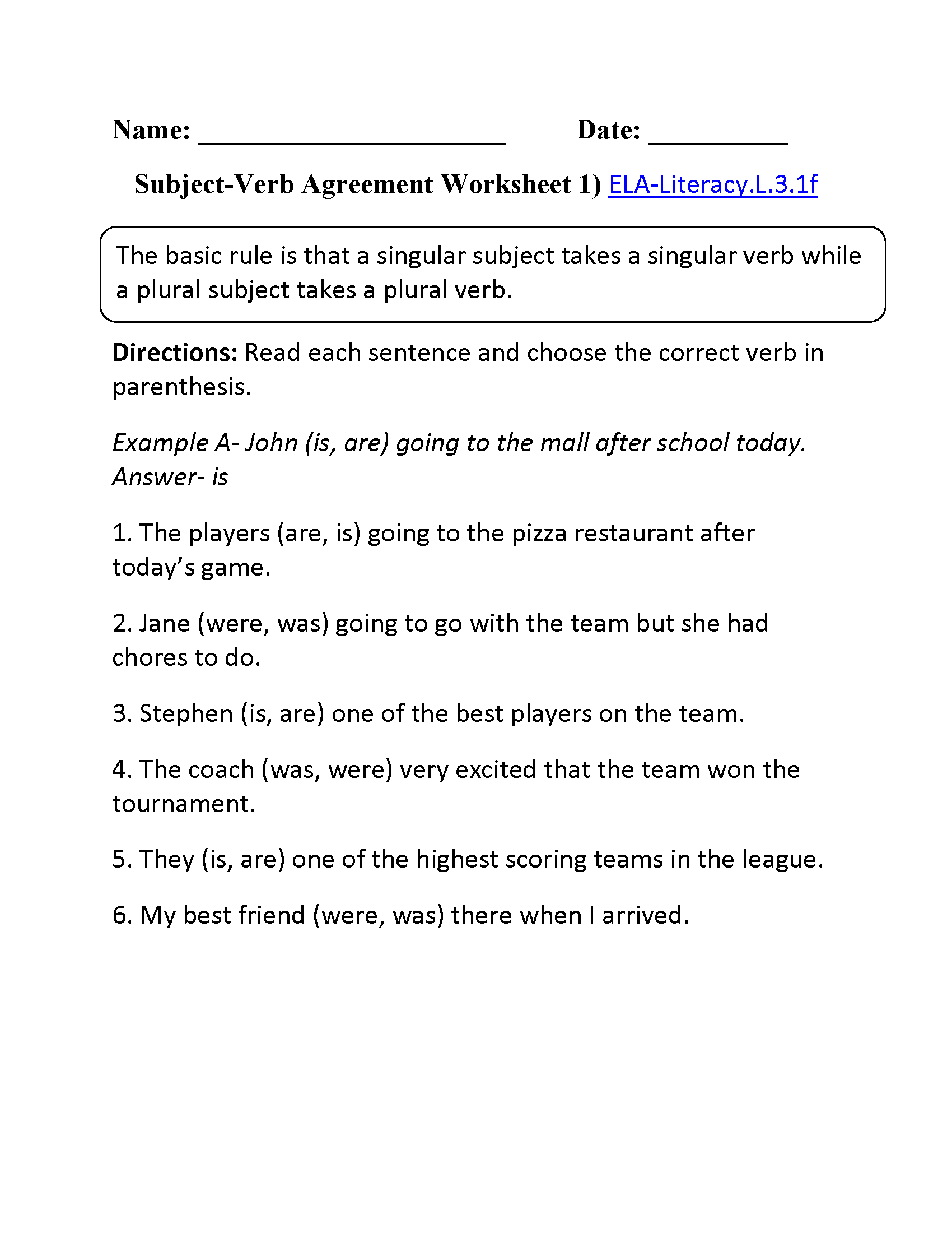 Subject Verb Agreement Worksheet 1 Ela Literacy L 3 1f