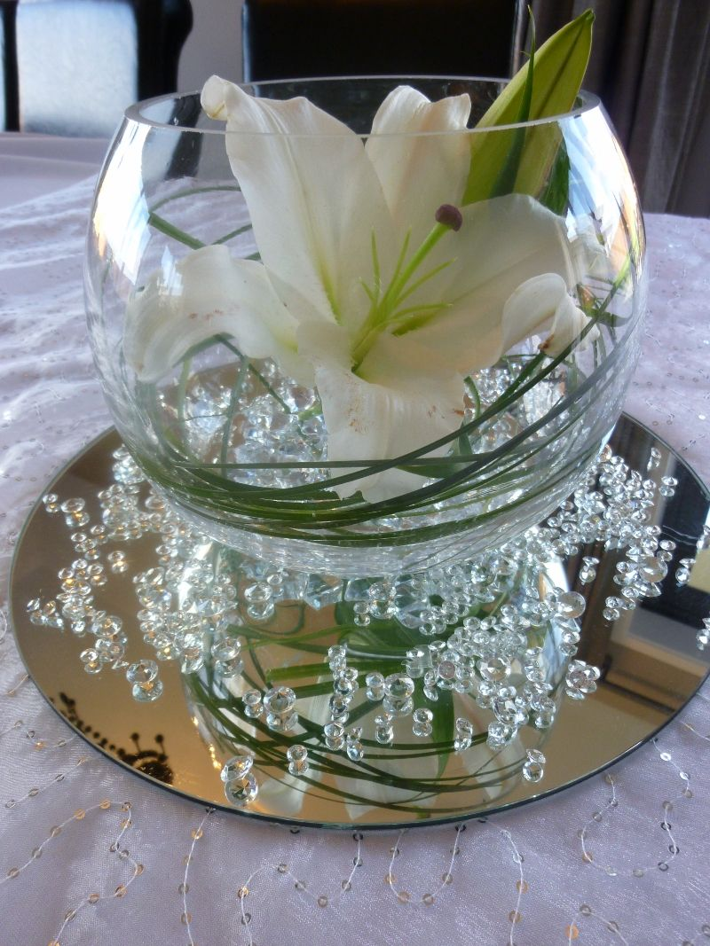 Centerpiece Bubble Vase With Mirror Water Pearls