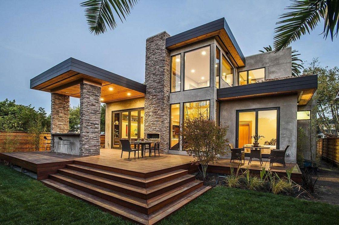 Modern Interior Design And Modern House Stone Exterior ...
