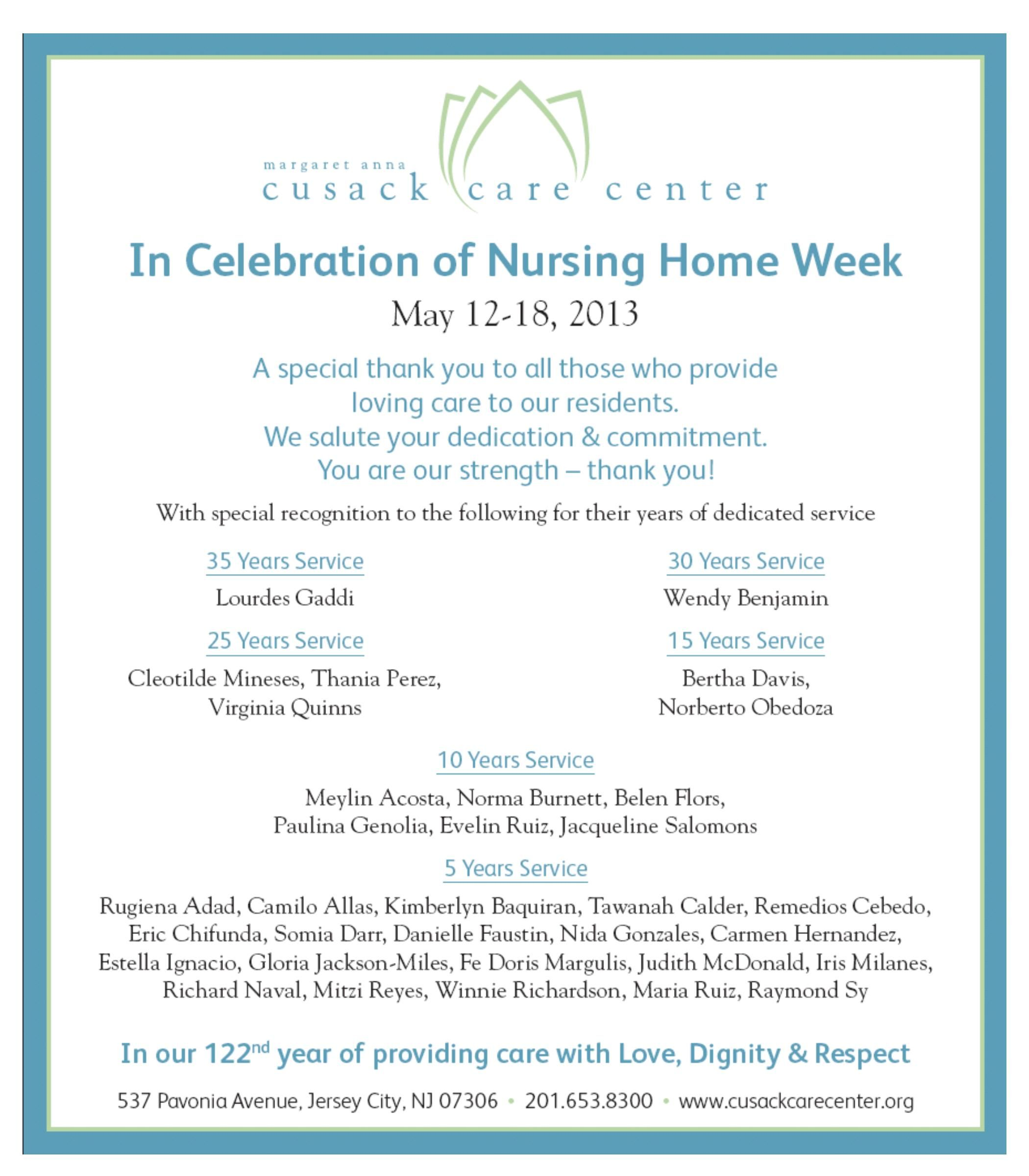 May 12 18 It S National Nursing Home Week And We Re