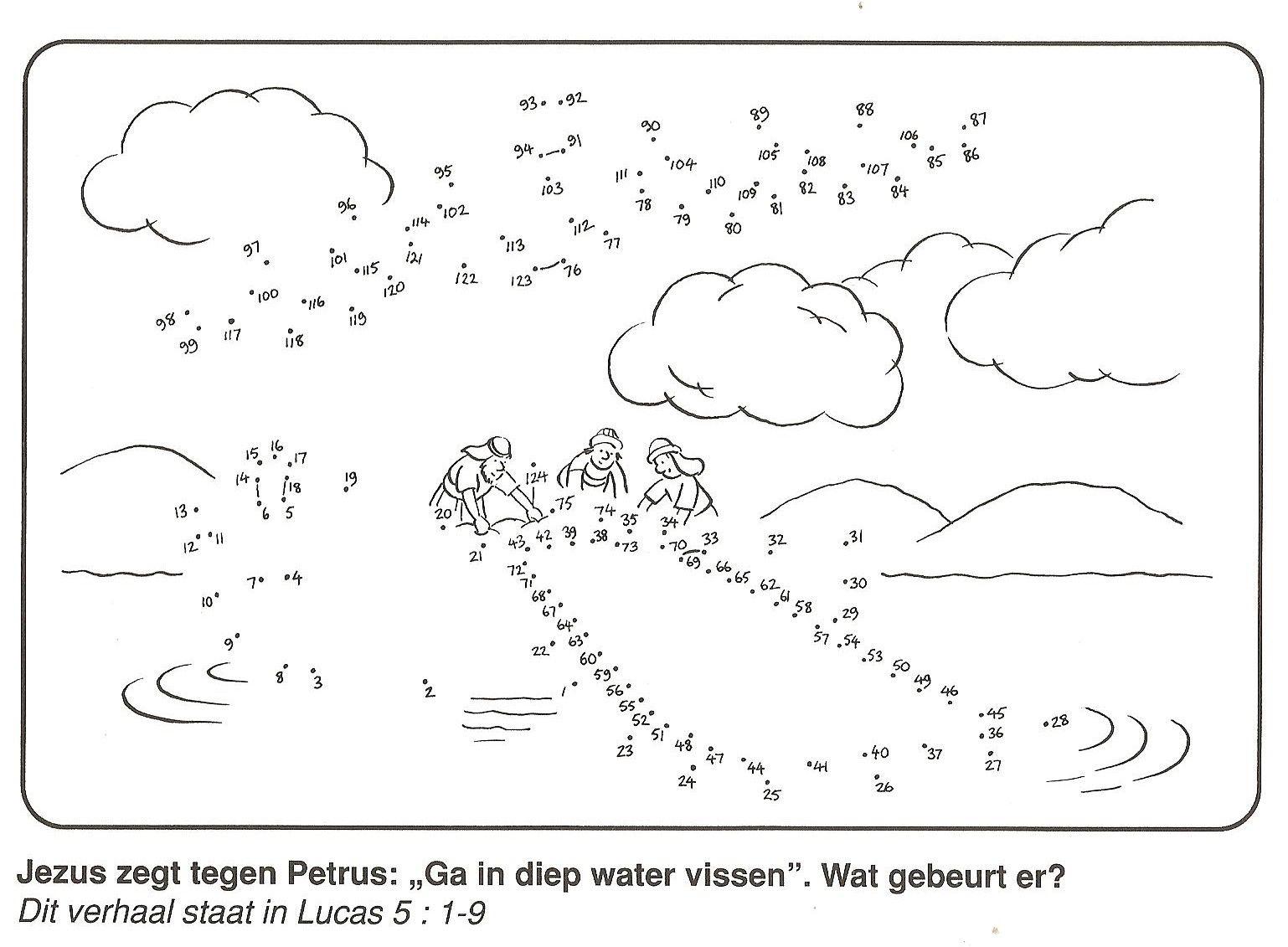 Jezus Zegt Tegen Petrus Ga Inp Water Vissen Wat