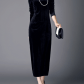 Black plain velvet long sleeve maxi dress maxi dresses blue
