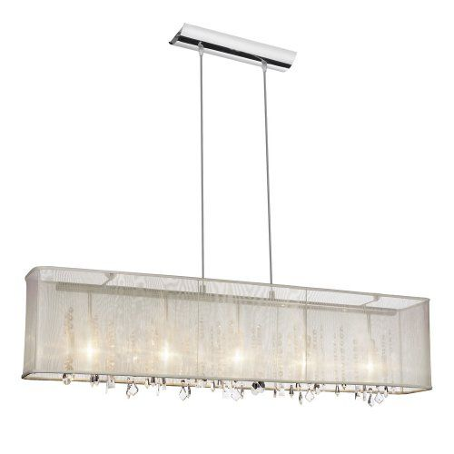 Dainolite Crystal Chandelier With Rectangular Organza Shade For Polished Chrome Oyster