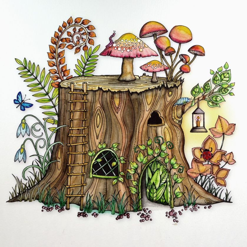 from johanna basford's enchanted forest. colored