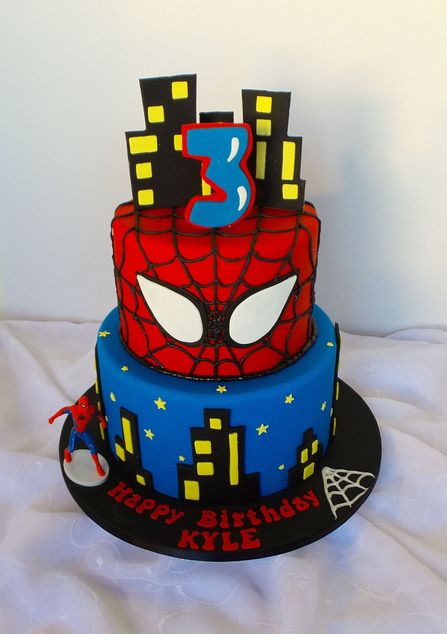 Two Tier Spiderman Themed Birthday Cake