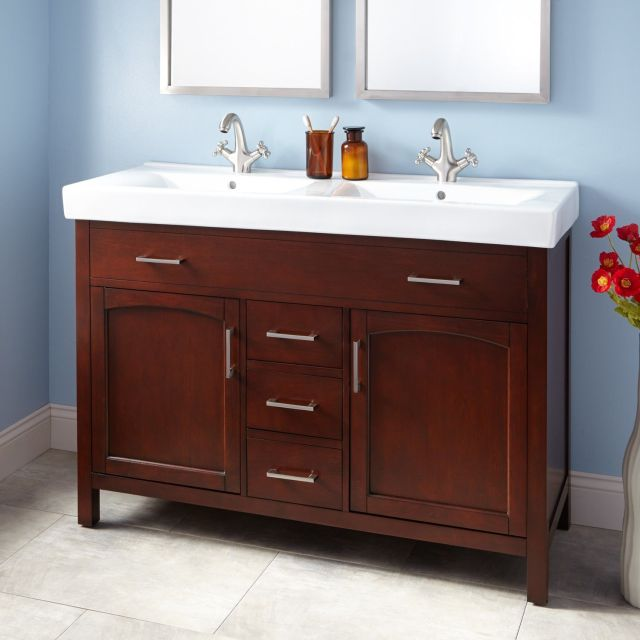 "48"" Bates Double Vanity Walnut with double trough sink"