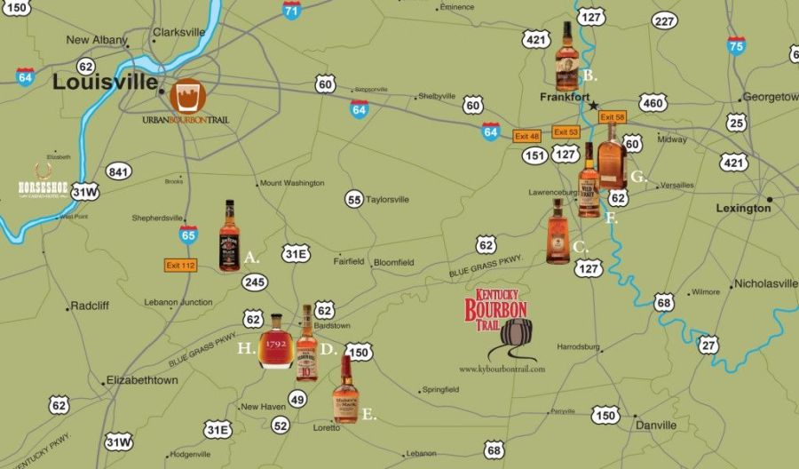 bourbon trail driving map   Bourbon Country   Getaways for Grownups     bourbon trail driving map   Bourbon Country   Getaways for Grownups  21plus  Travel
