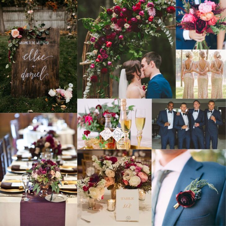 Burgundy Plum Champagne and Navy Wedding Lots of greenery  OUR