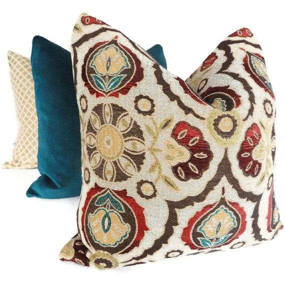 Brown Turquoise Red Suzani Decorative Pillow Cover 20x20