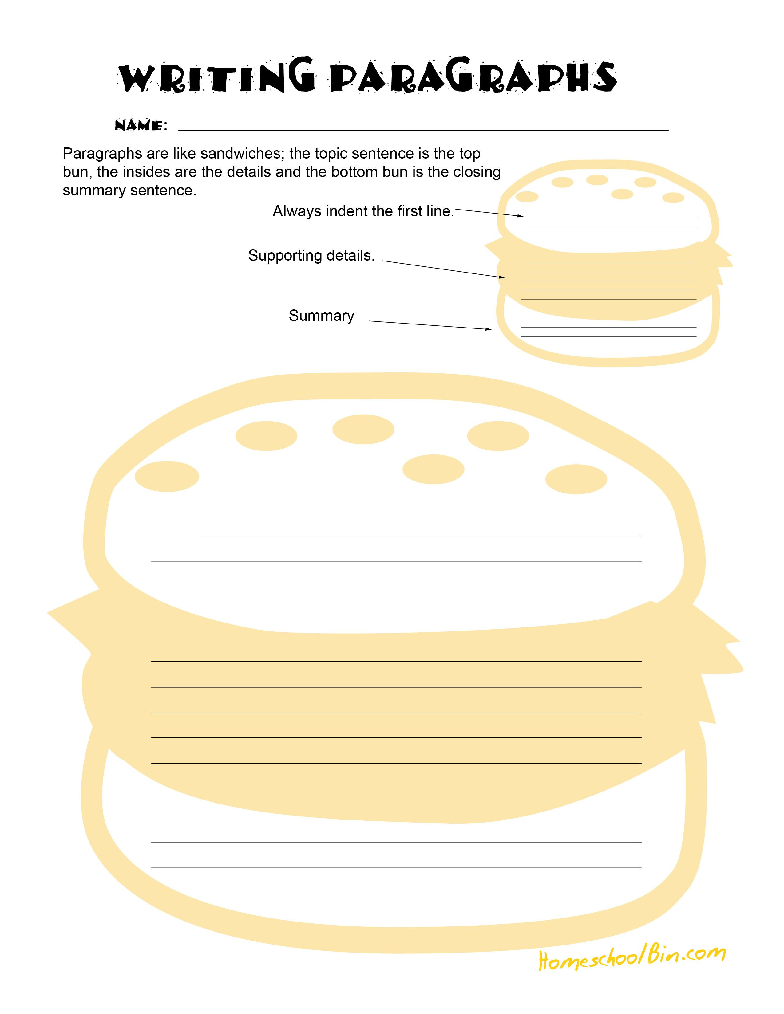 Paragraph Worksheet Sandwich Many Worksheets On Types Of Writing