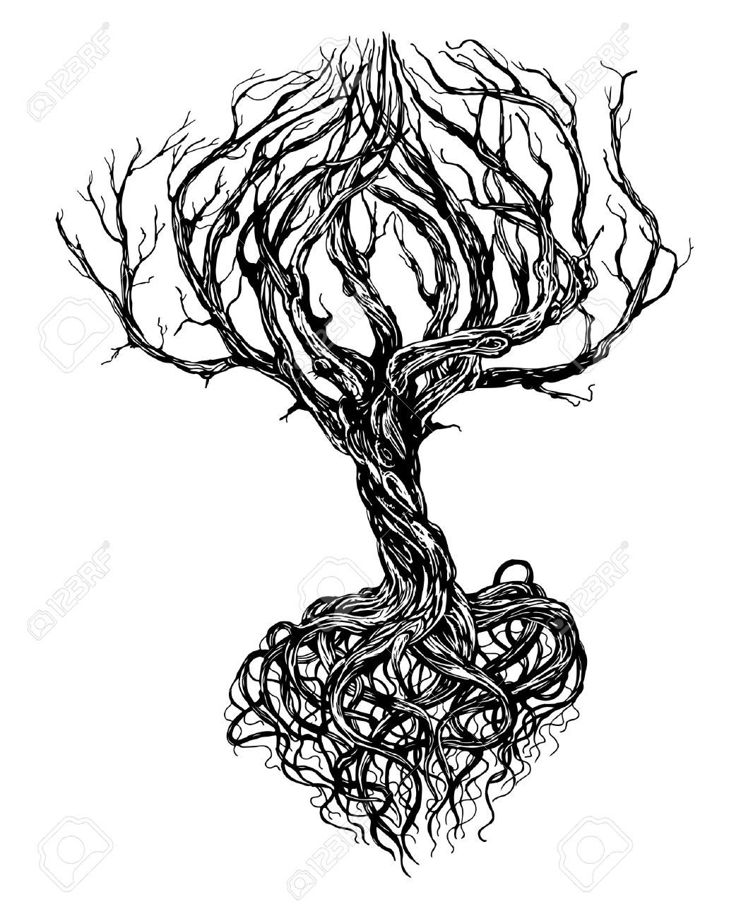 Hand Drawn Old Bare Tree With Crooked Branches