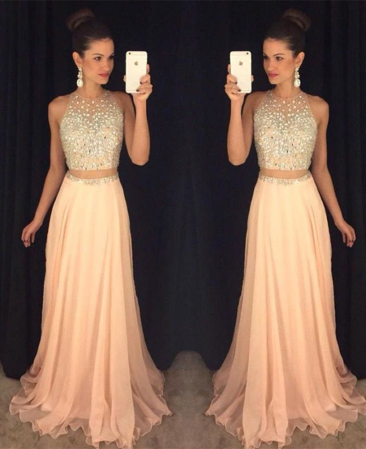 Two Pieces Prom DressesBeading Bodice Chiffon Prom DressesProm