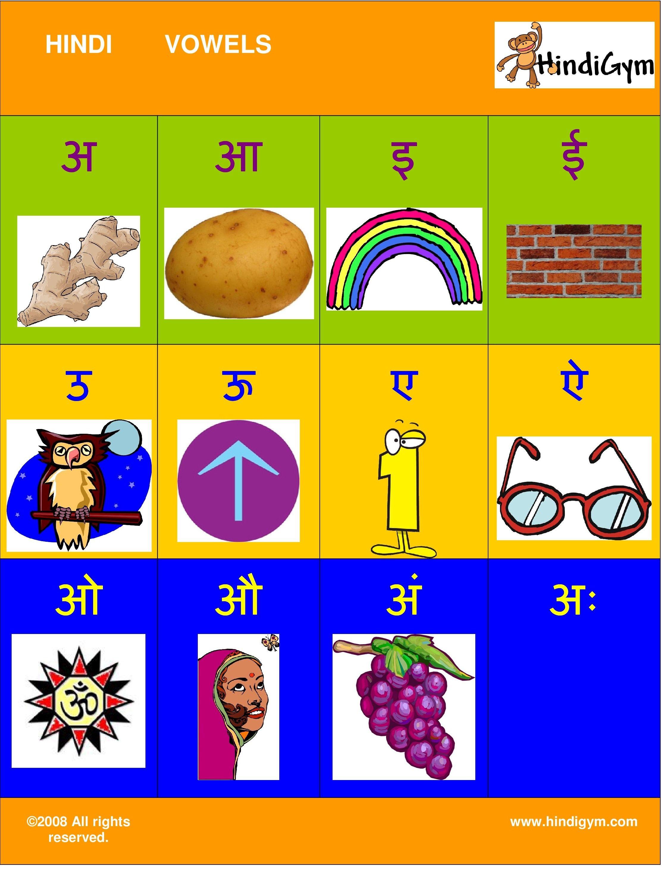 Hindi Vowel Chart Free Print At Home Varnamala Swar