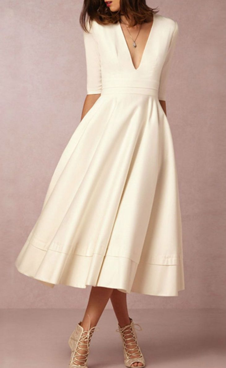 ALine V Neck Half Sleeve Midi Party Dress Clothes Wedding and