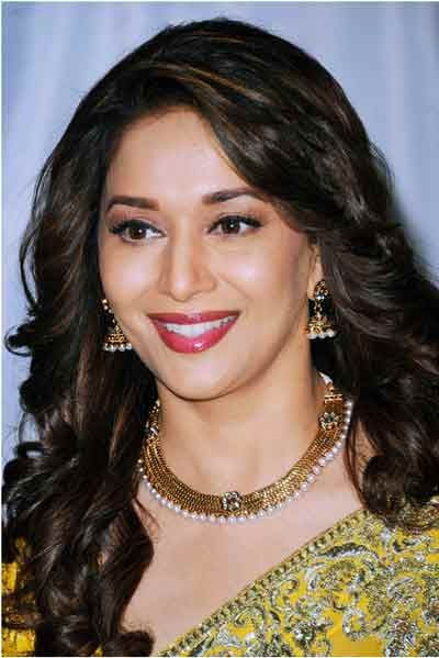 Long Curls Indian Hairstyles For Round Faces Madhuridixit