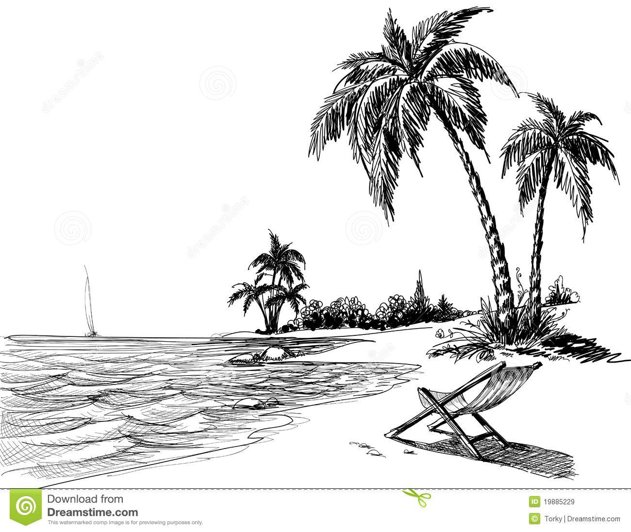 Hawaiian Beach Drawing