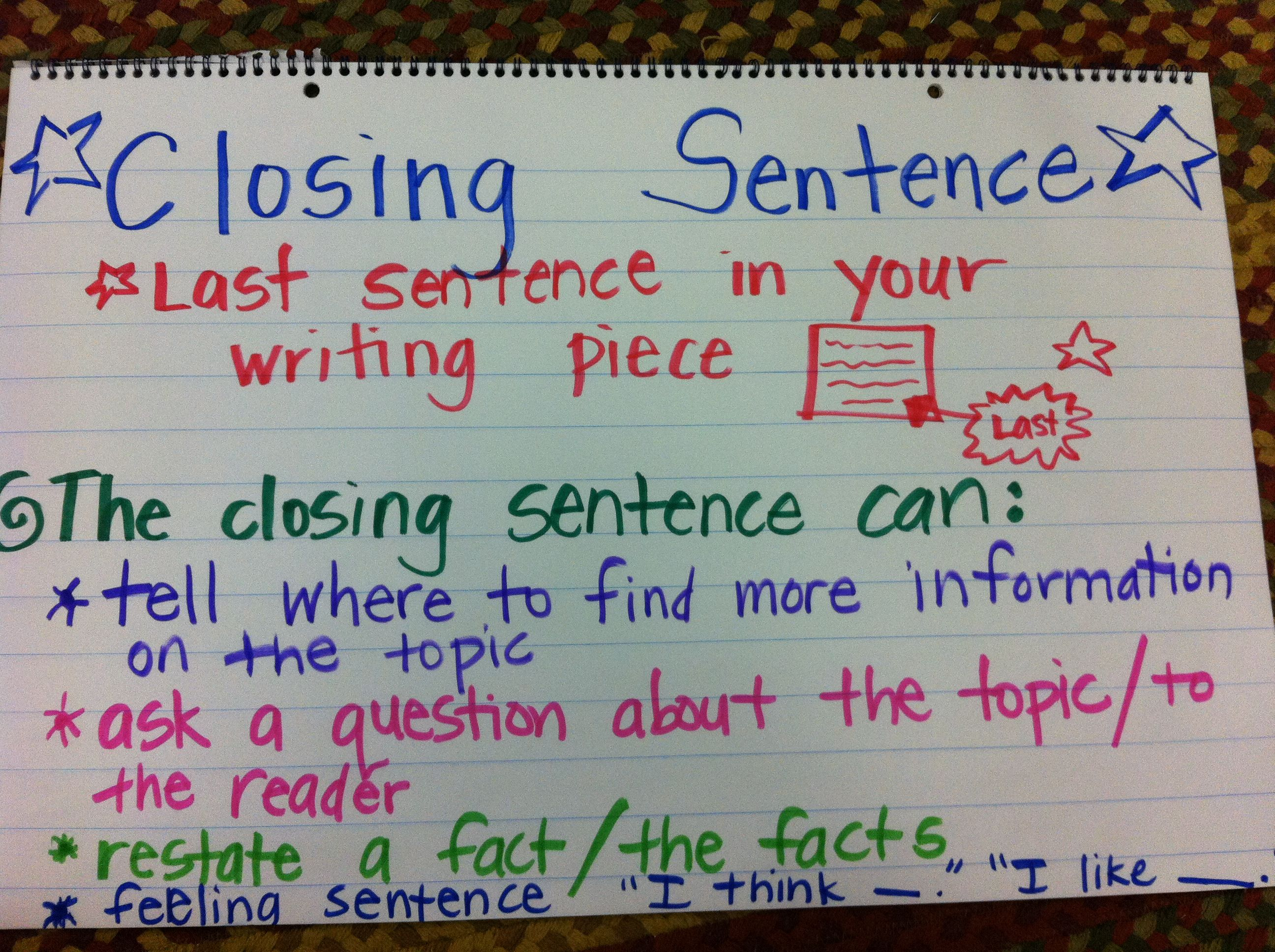 Writing Closing Sentence Anchor Chart First Grade