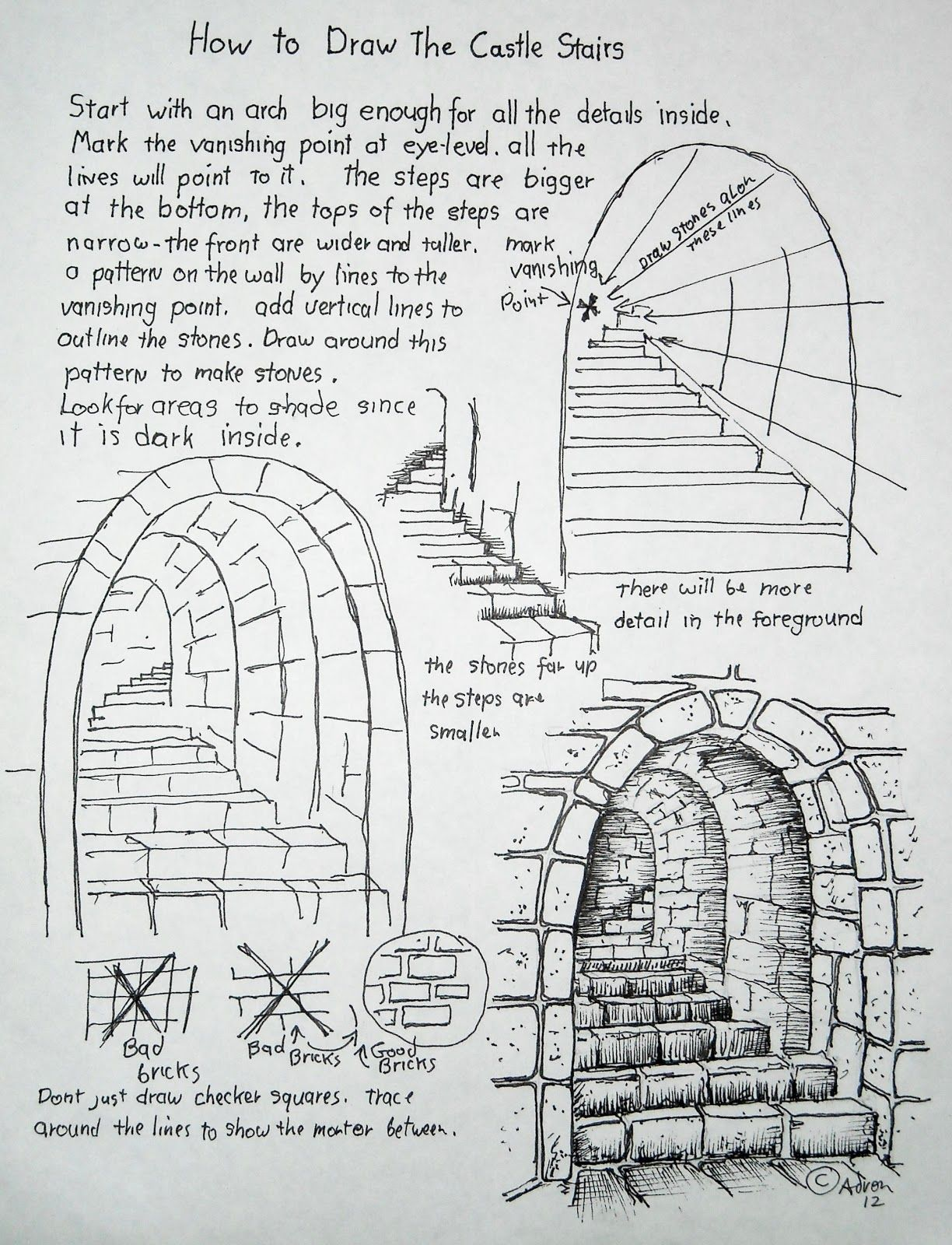 How To Draw Worksheets For The Young Artist Stone Stairs Escenarios