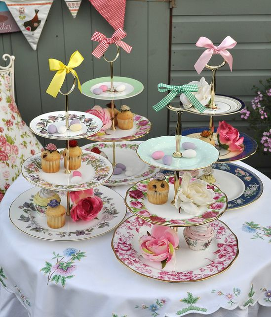 Tiered Vintage Cake Stands For A Tea Party Vintage Cake
