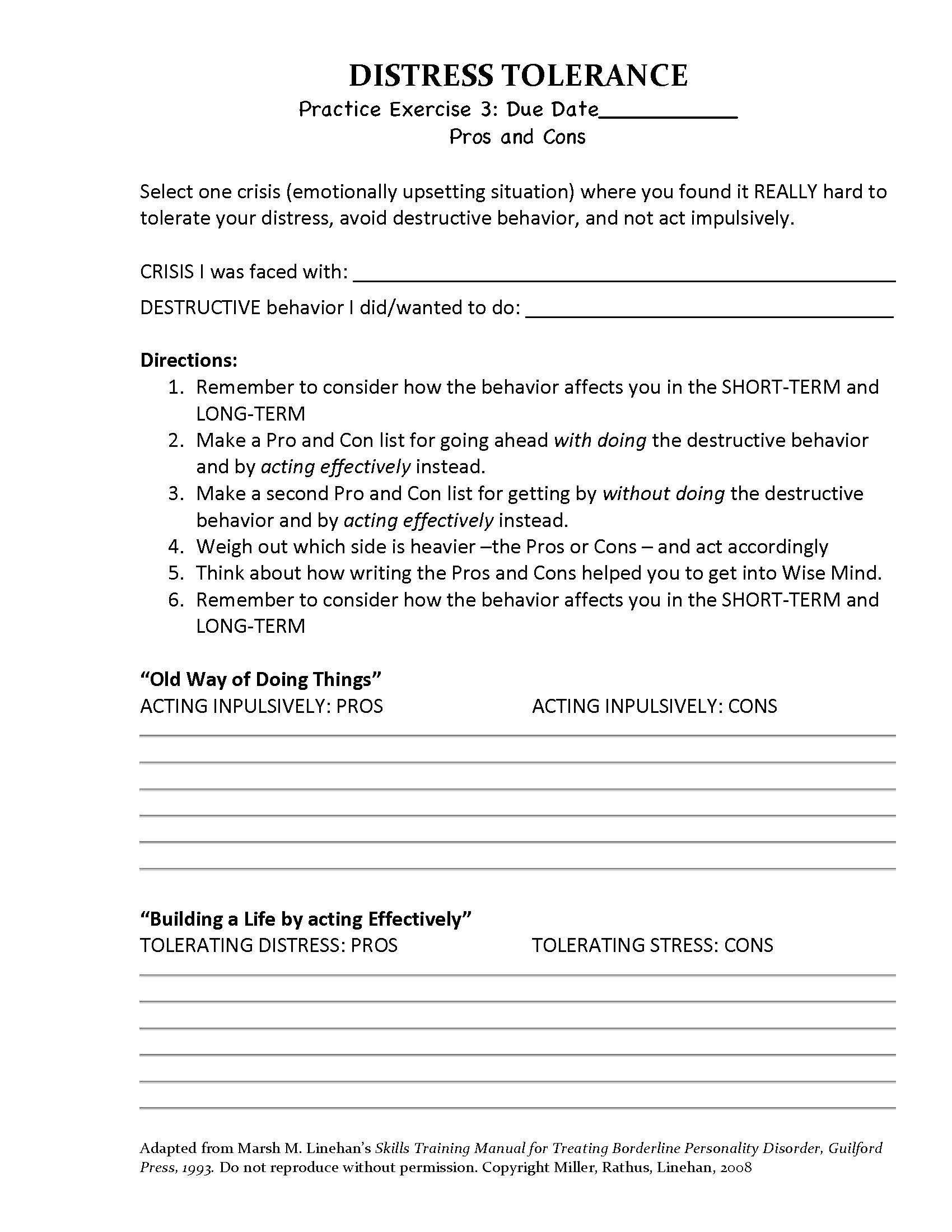 Worksheet Distress Tolerance Worksheets Worksheet Fun Worksheet Study Site
