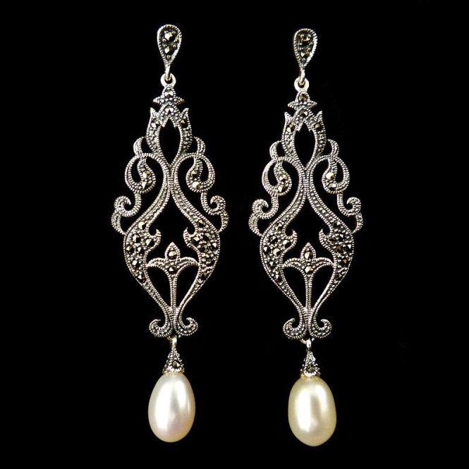 Luke Stockley Marcasite Long Pearl Drop Earrings Me247pl