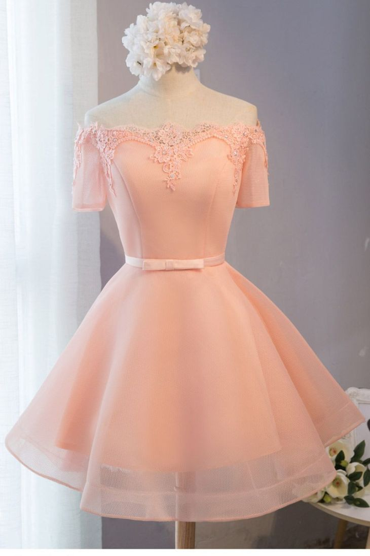 Peach and lace short prom style dress Lacy Dresses Pinterest