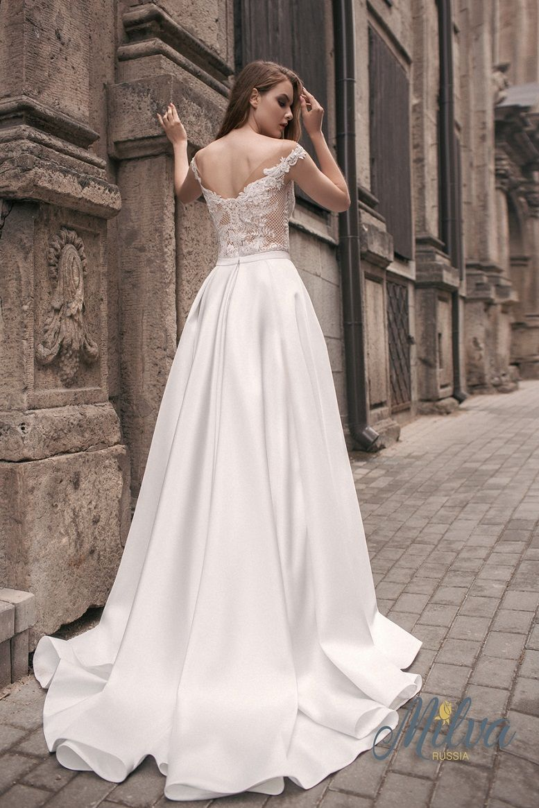 Off the shoulder illusion sweetheart neckline embellishment bodice a line wedding dress sweep train #wedding #weddingdress #weddinggown