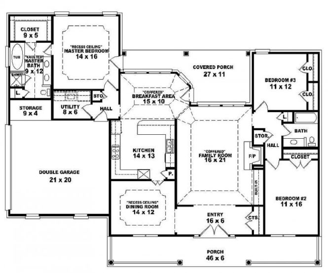One Story Open Floor Plans 3 Bedroom 2 Bath French Traditional