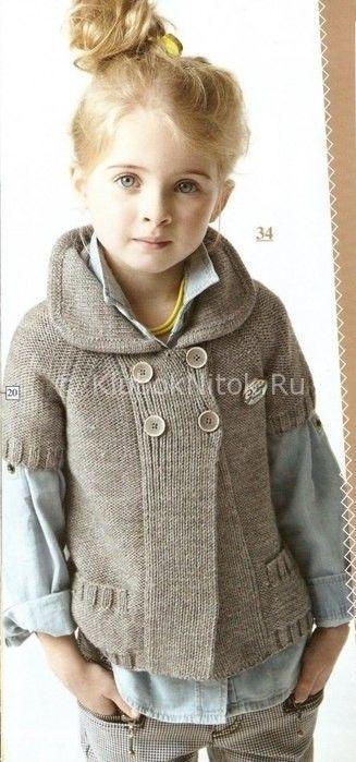 Серый двубортный жакет | Вязание для девочек | Вязание ...