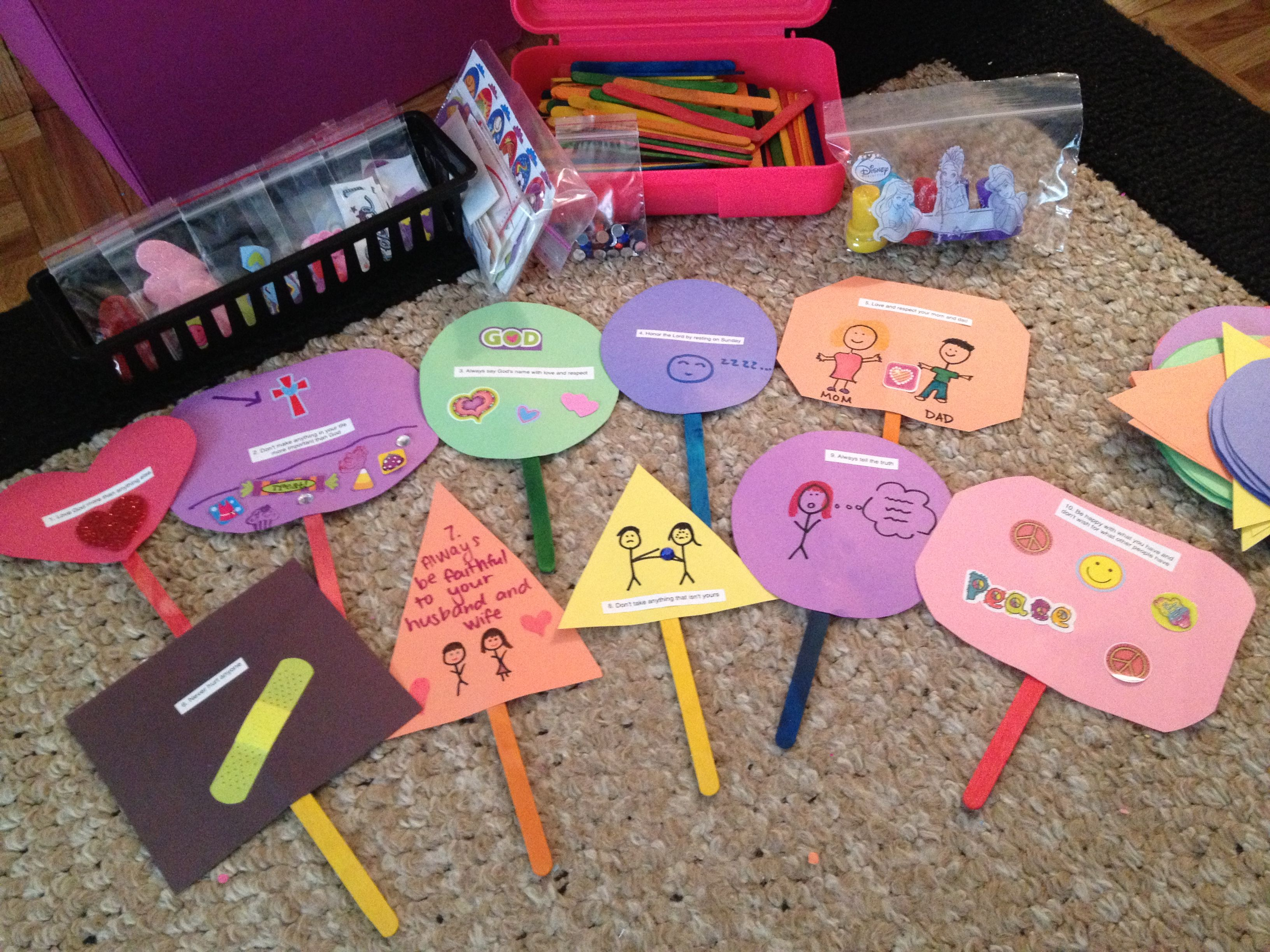 10 Commandment Sign Activity Cut Out Shapes Out Of Colored