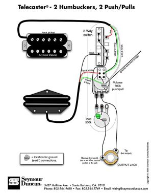 Tele Wiring Diagram, 2 humbuckers, 2 pushpulls
