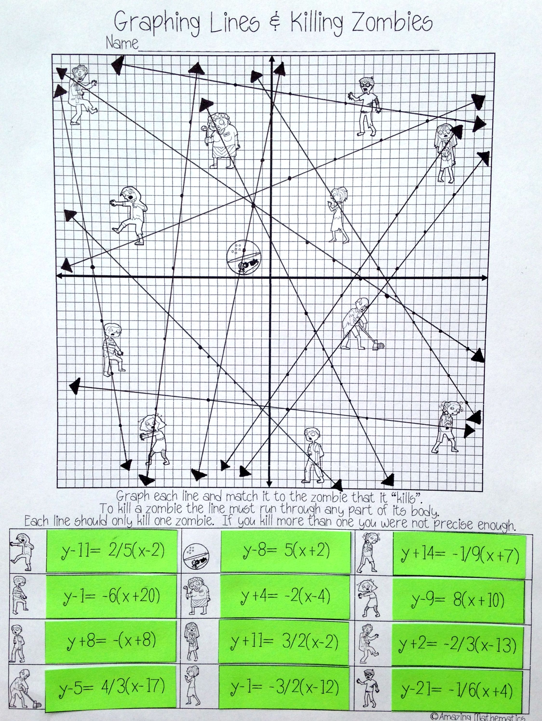 Graphing Lines Amp Zombies Point Slope Form