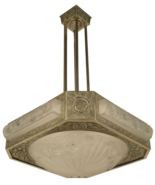 Bronze Degue Chandelier Signed 501 In Frosted Glass With Polished Details Circa 1930s