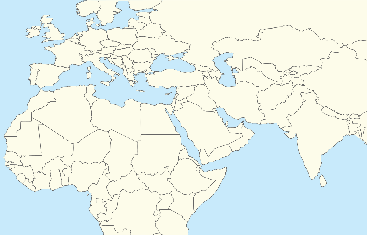 Blank Map Middle East With Other Areas
