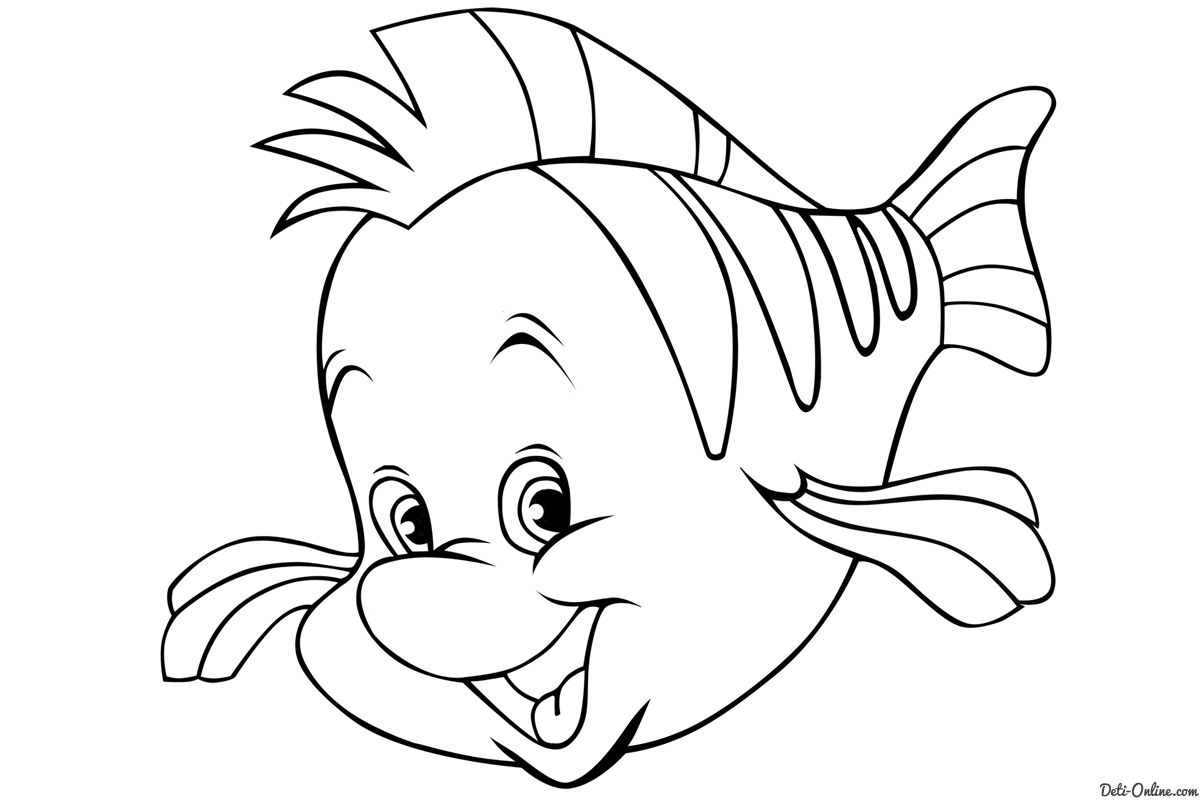 Flounder Little Mermaid Colouring Pages Colorine 24323