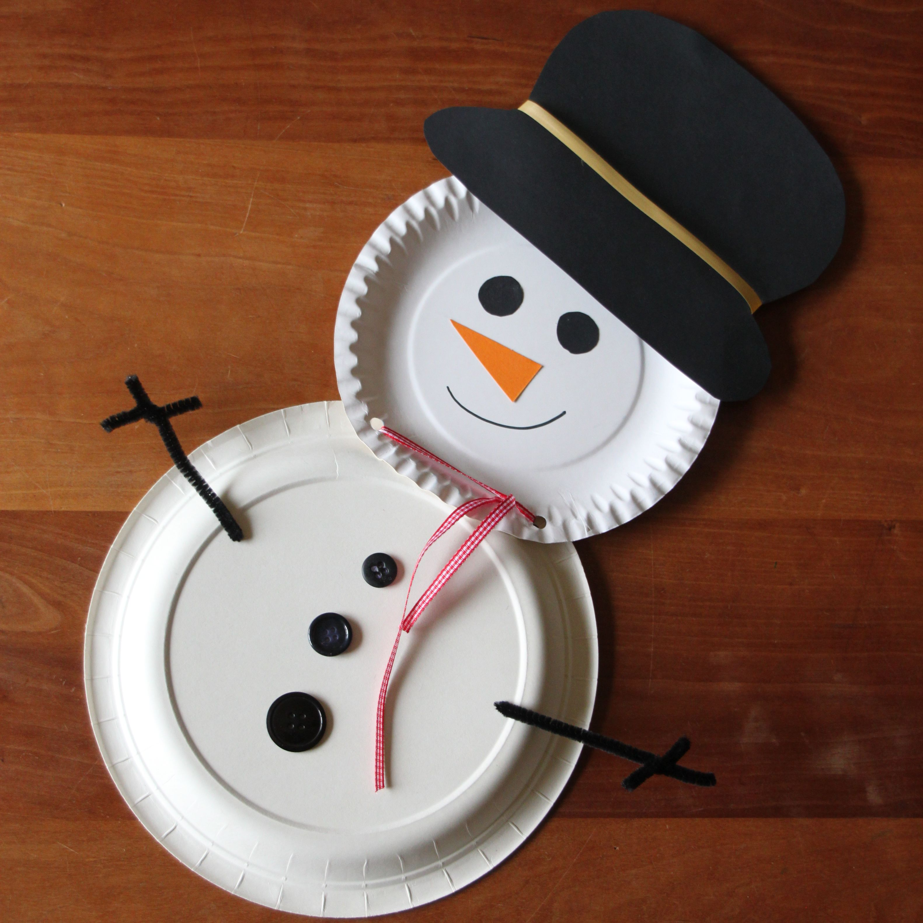 Simple Snowman Paper Plate Craft Idea Originally From