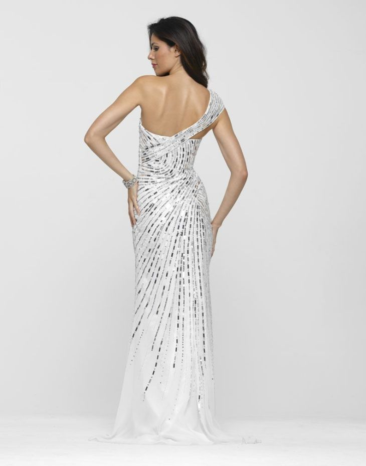 White u Silver Prom Gown By Clarisse Long prom gowns Prom