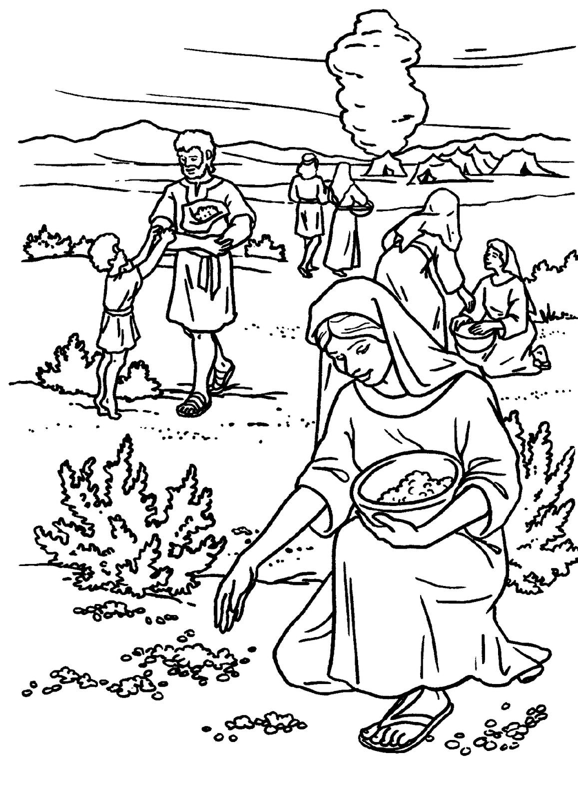 Dibujo Del Pueblo De Israel Recogiendo Mana Para Colorear
