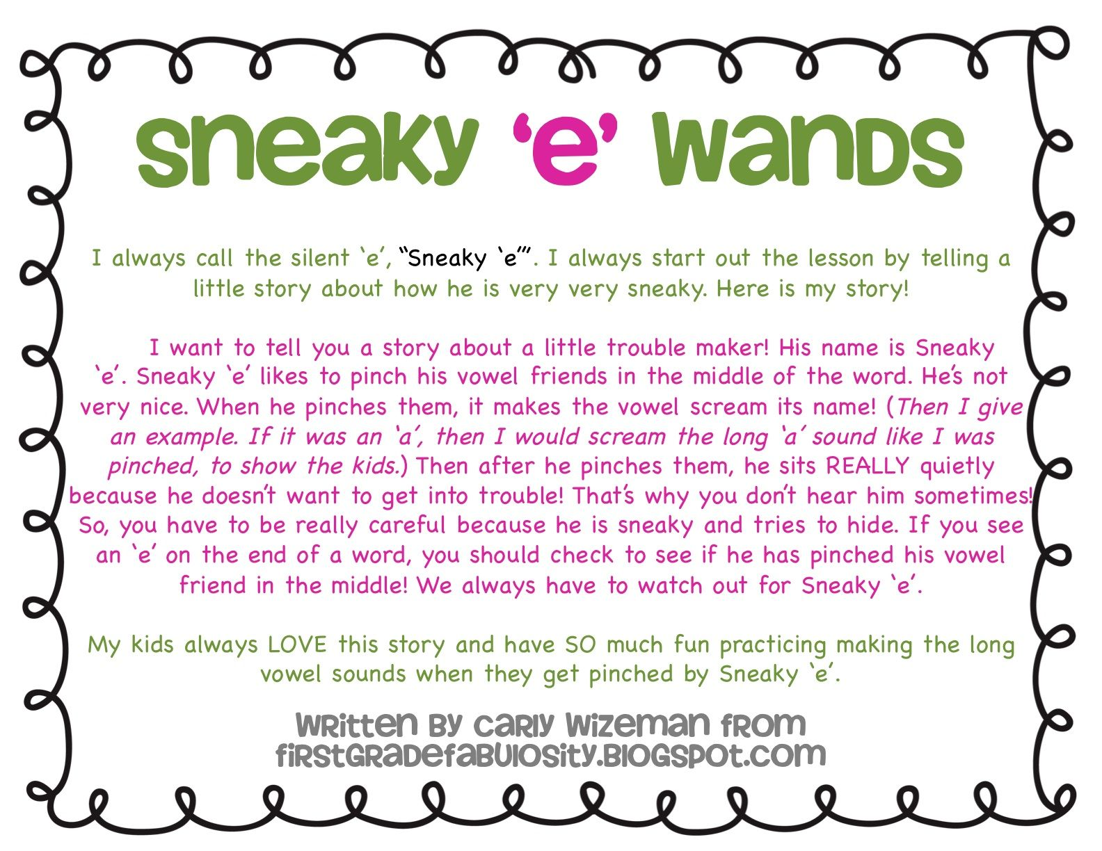 Sneaky E Story For Teaching Long Vowels With Silent E