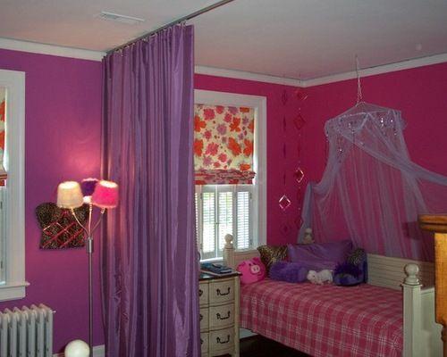 Purple Curtain Room Dividers Eclectic Kids Decor Ideas