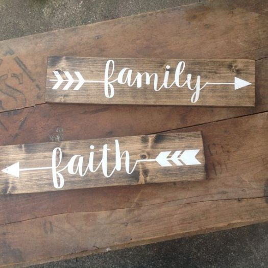 Arrow Wood Sign Pick One Rustic Family Love Faith Home Explore Memories Gather Laugh Hand Painted Decor