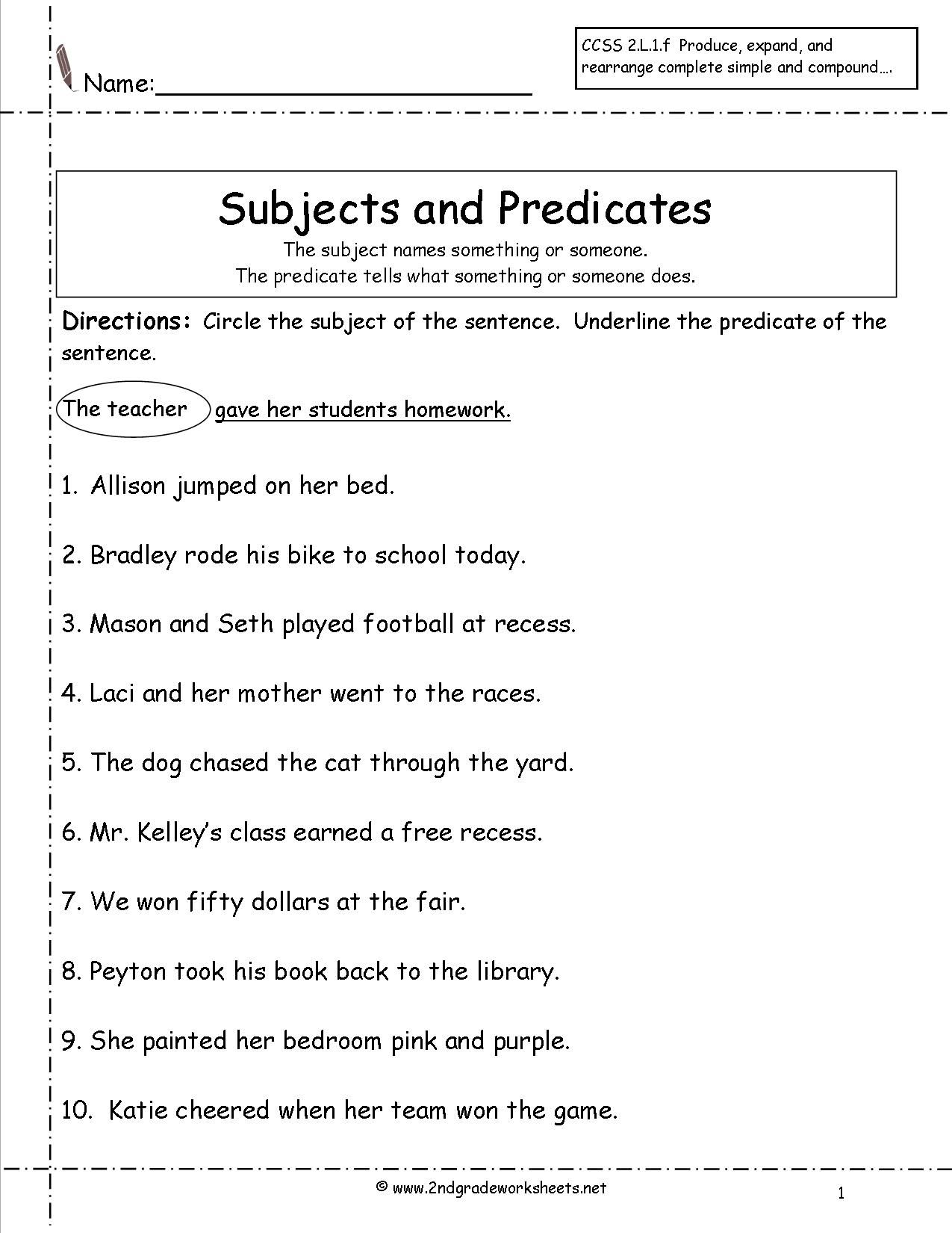 Subject Predicate Worksheets 2nd Grade