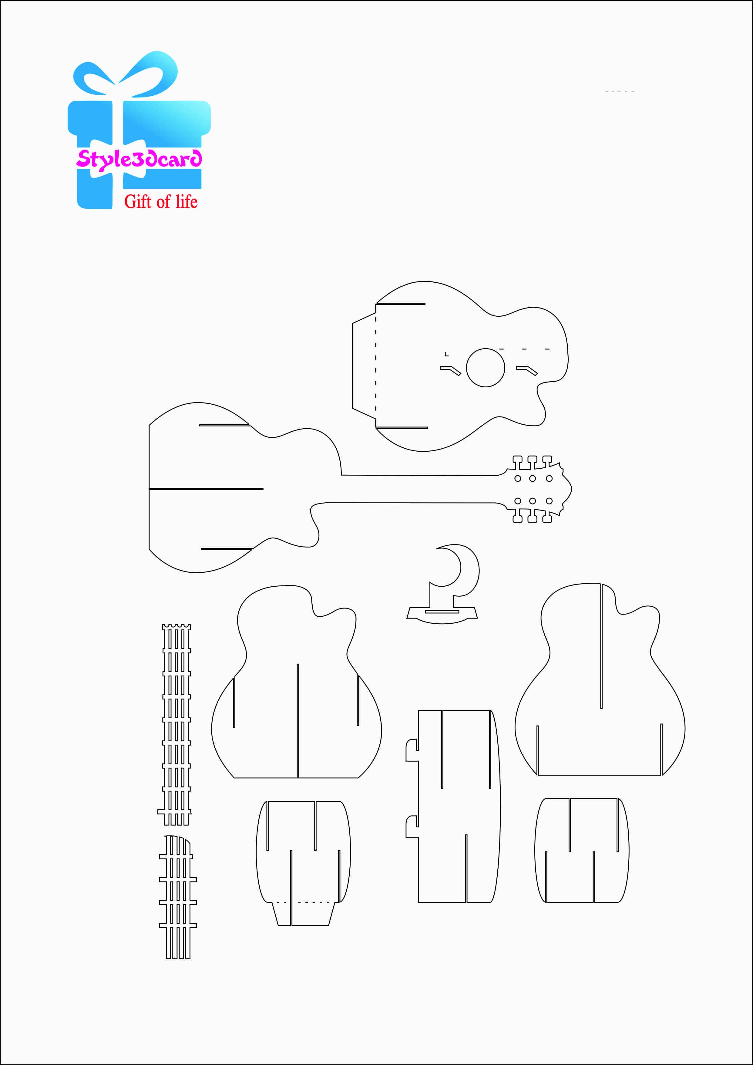 Guitar Pattern 3d Pop Up Card 1