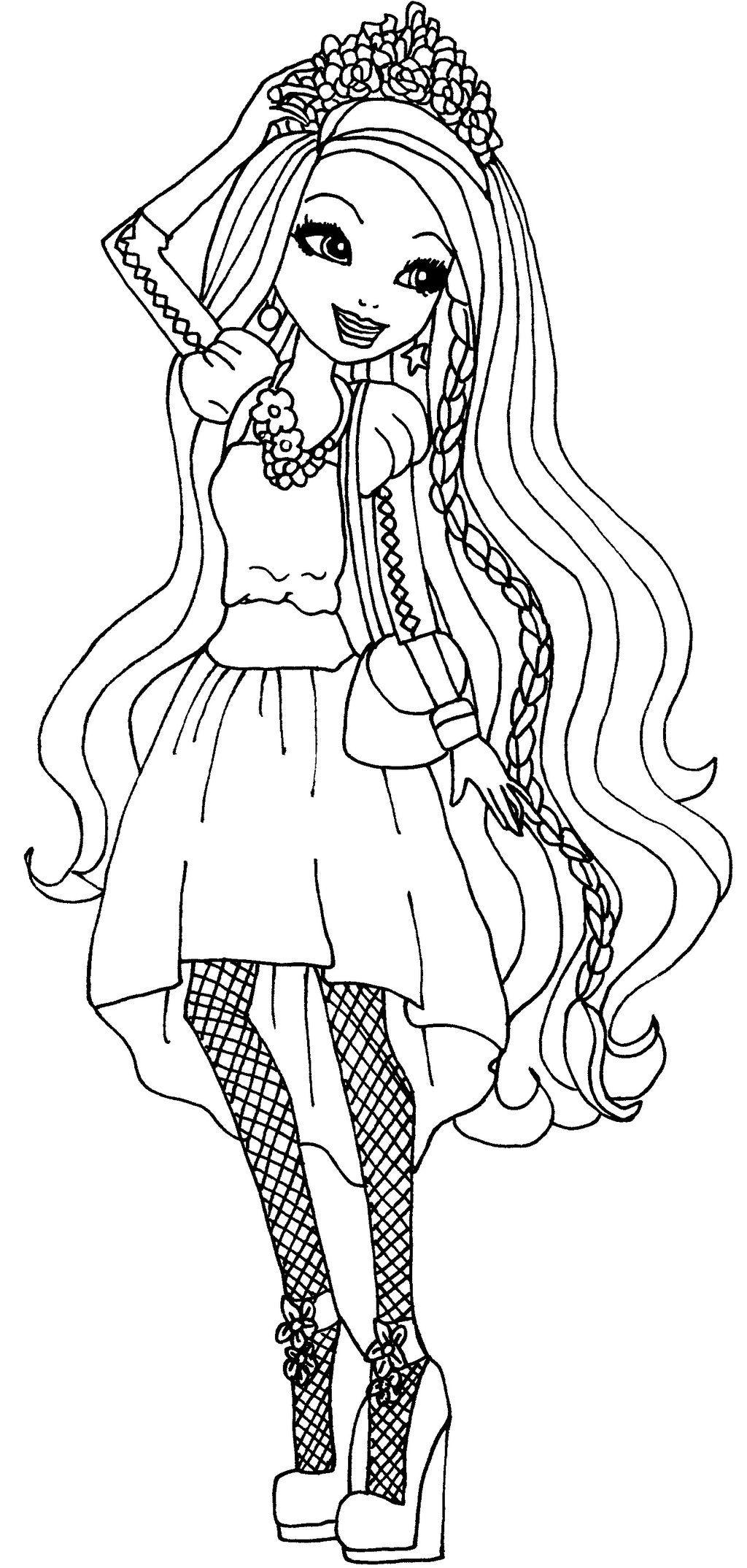 Ever After High Character Color Pages For Kids Holly O Hair