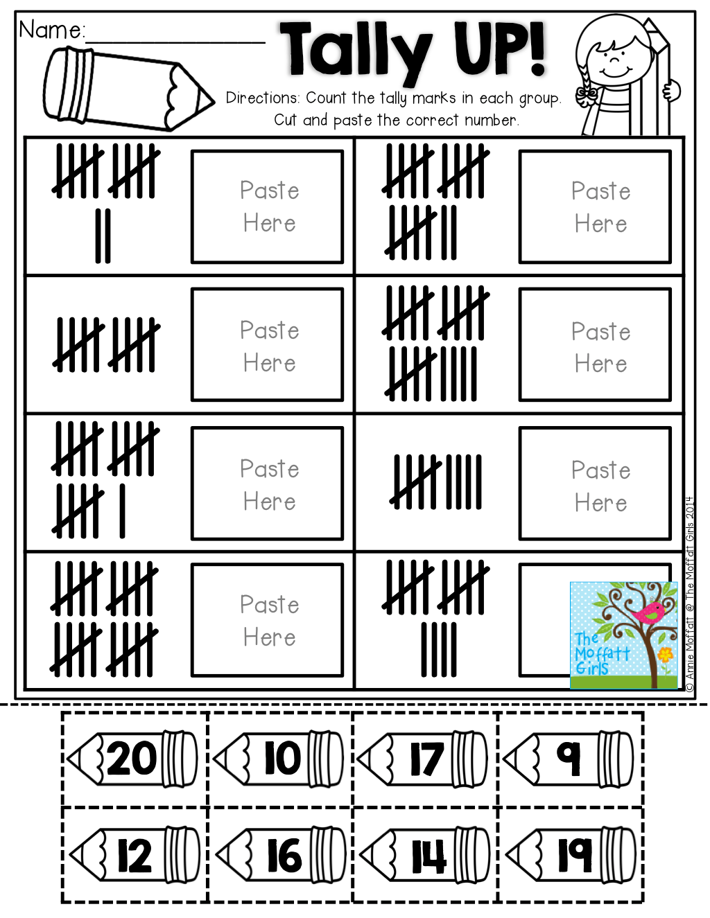 Tally Up Count Cut And Paste The Number That Matches The