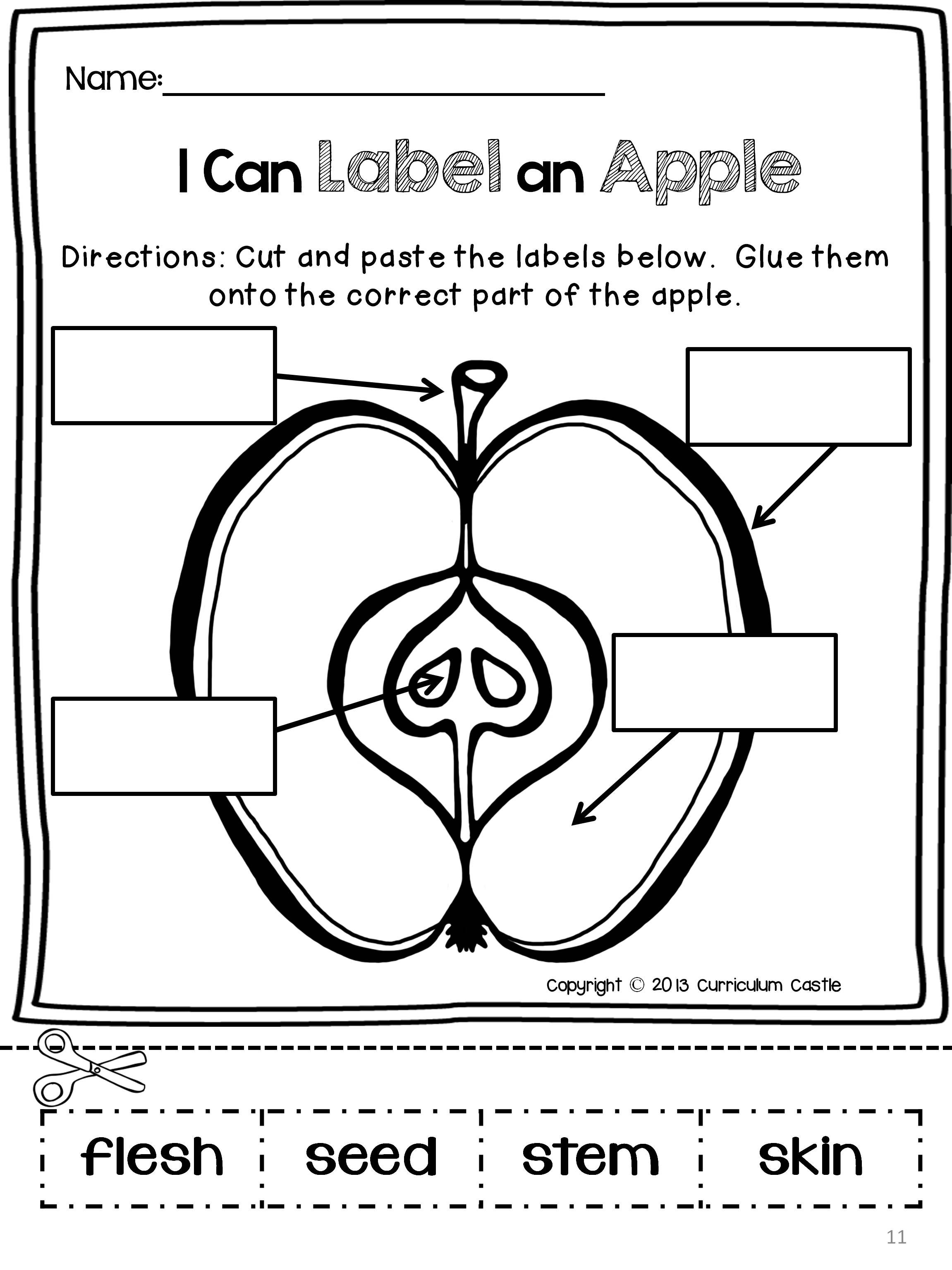 Cutting Worksheets For Kindergarten Johnny Appleseed