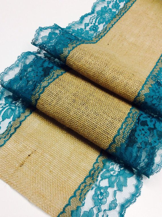 Burlap Table Runner TealGreen Lace3ft 10ft X 13quotquotWide