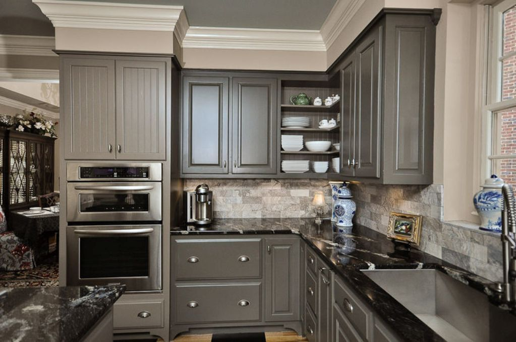 kitchen remodel with grey kitchen cabinets feat patterned ... on What Color Cabinets With Black Granite Countertops  id=94293
