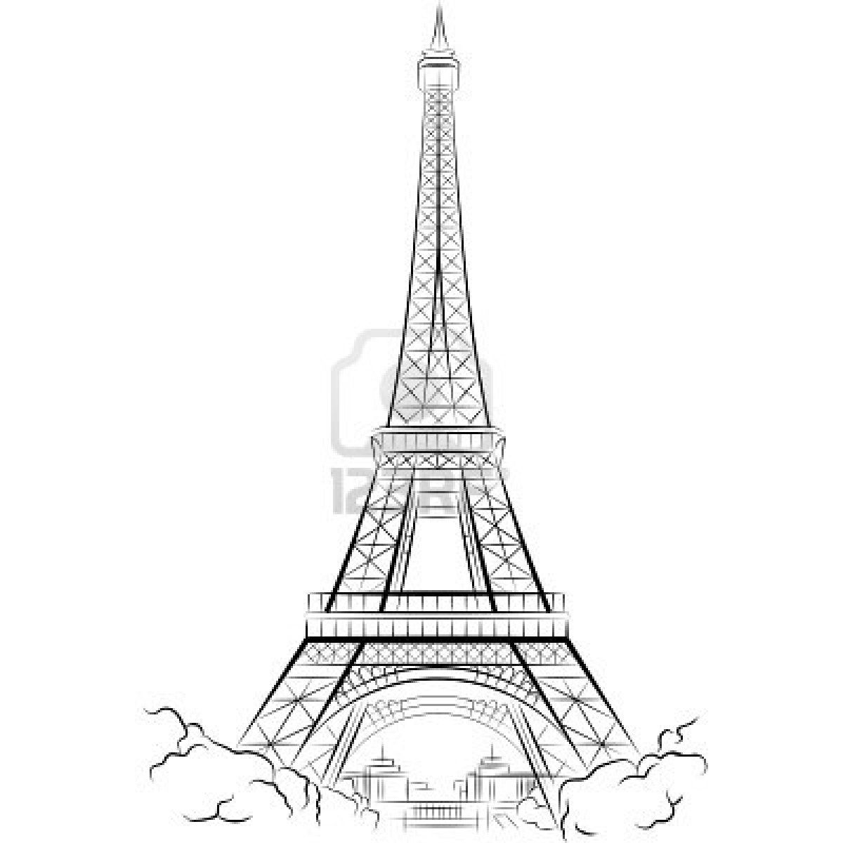 Drawing Eiffel Tower In Paris France Vector Illustration