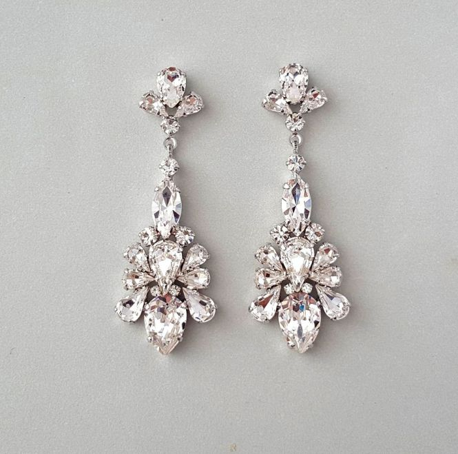 Teardrop Chandelier Swarovski Crystal Earrings Tastefully Dazzling